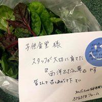野菜に添えられた手紙